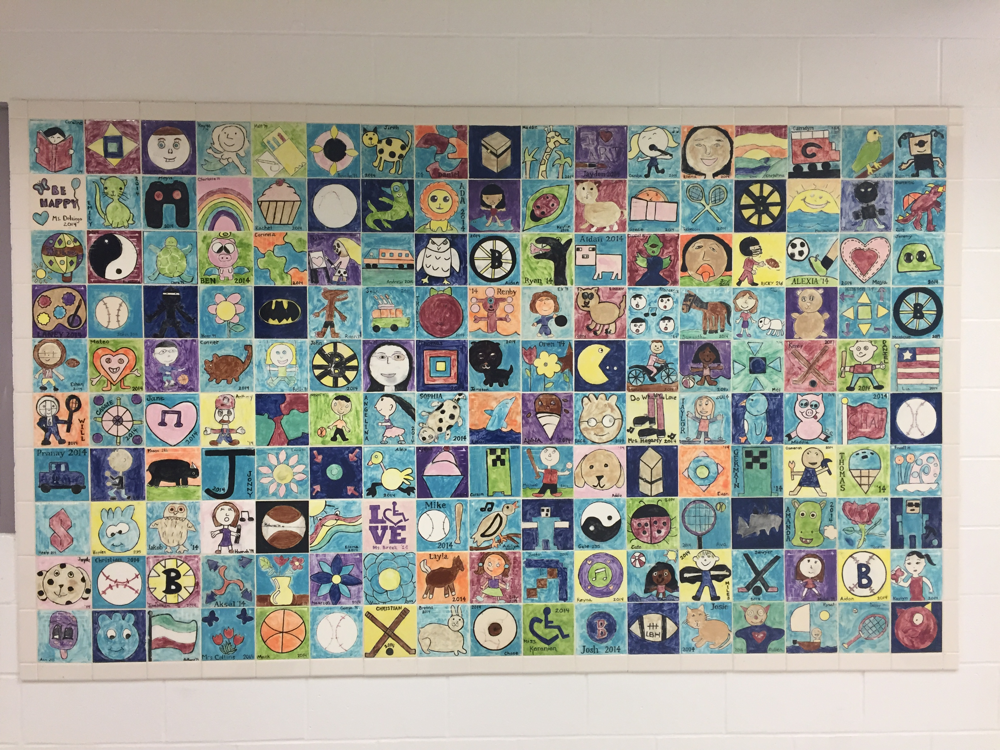 Tiles painted by former students