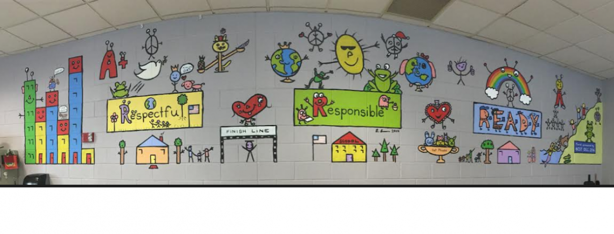 Mural in cafeteria