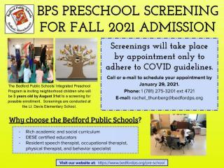 Bedford Integrated Preschool Screening for 2021-2022